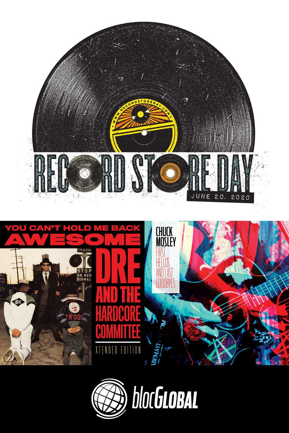 Record Store Day logo and covers of blocGLOBAL June 20th, 2020 releases