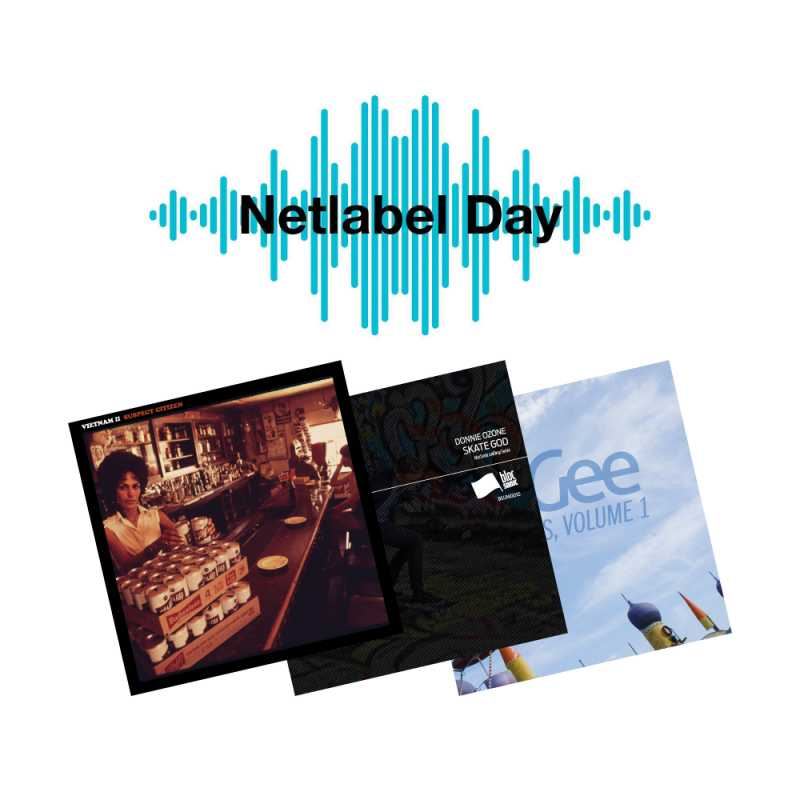 Image containing Netlabel Day logo and covers of three blocSonic releases